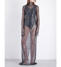 Ellery Olympic Funnel Neck Sequinned Gown Black Clear