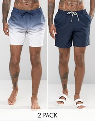 Asos Swim Shorts 2 Pack In Dip Dye And Navy Mid Length Navy
