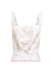 Thierry Colson Rosa Floral Print Cotton Top Pink Multi