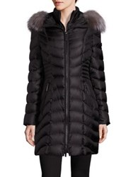 Dawn Levy Nola Fox Fur Trim Down Puffer Coat Black