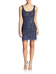 Adrianna Papell Sleeveless Beaded Tank Dress Deep Blue