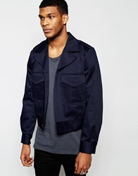 Asos Cropped Military Jacket In Navy Navy