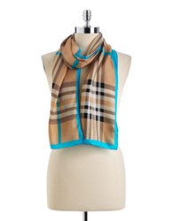Lord And Taylor Silk Plaid Scarf Camel Blue