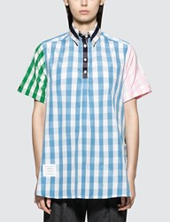 Thom Browne S S Thigh Length Oversized Circle Shirtdress In Funmix Gingham Check Poplin
