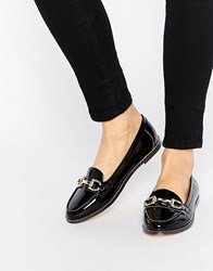 London Rebel Bar Loafers Black Patent