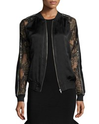 Opening Ceremony Gestures Lace And Satin Bomber Jacket Black
