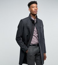 Ted Baker Tall Funnel Neck Wool Overcoat 03 Charcoal Grey