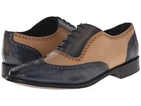 Messico Capuchino Vintage Navy Bone Leather Men's Dress Flat Shoes Black