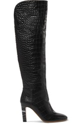 Gabriela Hearst Linda Croc Effect Leather Over The Knee Boots Black