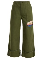 Bliss And Mischief Sunset Embroidered Cropped Cotton Drill Trousers Khaki