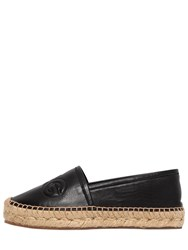 Dolce And Gabbana 30Mm Logo Embossed Leather Espadrilles Black