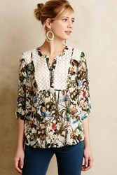Anthropologie Prairie Blossom Peasant Blouse Green Motif