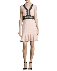 Rebecca Taylor Tweed Contrast Lace Sleeveless Dress Ballerina Pink Light Pink