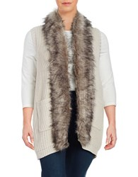 Jessica Simpson Plus Faux Fur Trimmed Vest White