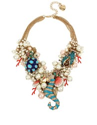 Betsey Johnson Faux Pearl Sea Horse Multi Charm Bauble Necklace