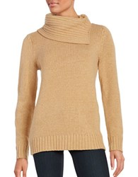 Lord And Taylor Split Neck Knit Top Classic Camel Heather
