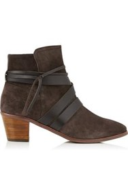 Kanna Sara Leather Wrap Ankle Boots Brown
