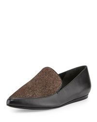 Vince Nikita Pointed Toe Calf Hair Leather Loafer Black