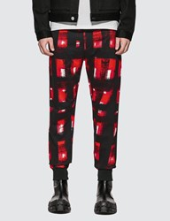 Alexander Mcqueen Painted Checker Pants Red
