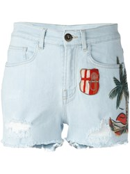 Mr And Mrs Italy Beach Patch Denim Shorts Blue