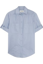 Maison Martin Margiela Pinstriped Cotton Blend Poplin Shirt Blue
