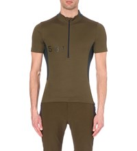 Paul Smith Zipped Jersey Cycling T Shirt Khaki