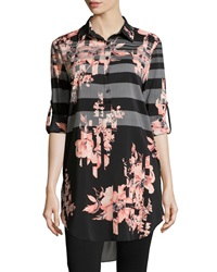 Joan Vass Striped Floral Print Long Blouse Black Coral