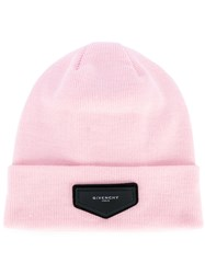 Givenchy Patch Detail Beanie Women Acrylic One Size Pink Purple