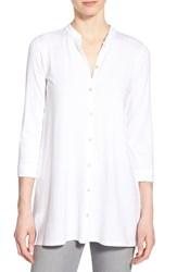 Women's Eileen Fisher Jersey Mandarin Collar Tunic White