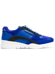 Dsquared2 Kit Sneakers Men Calf Leather Polyamide Polyurethane Rubber 41 Blue
