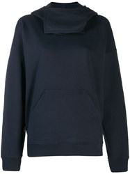 J.W.Anderson Jw Anderson Neck Panel Hooded Sweater Blue