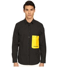 Love Moschino Polka Dot Woven Shirt With Contrast Pocket Black Men's Long Sleeve Button Up