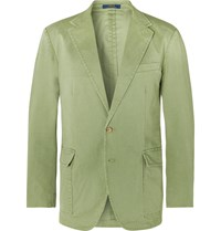 Polo Ralph Lauren Green Slim Fit Unstructured Brushed Cotton Blend Twill Blazer Green