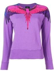 Marcelo Burlon County Of Milan Bird Feathers Printed Sweater Pink And Purple