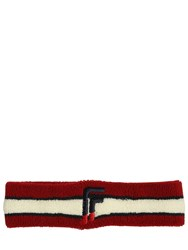 Facetasm F Embroidery Stretch Terrycloth Headband Red
