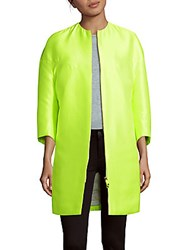 Valentino Solid Long Sleeve Down And Feather Overcoat Yellow Green