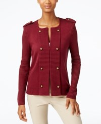 Cable And Gauge Military Sweater Jacket Burgundy