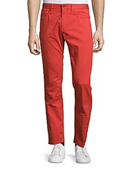 Incotex Regular Fit Flat Front Solid Pants Bright Red