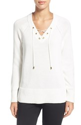 Women's Chaus Lace Up Neck Sweater