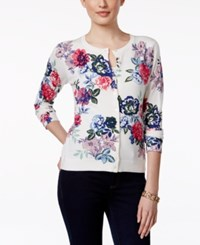 Charter Club Button Front Cardigan Sweater Floral Print White Floral