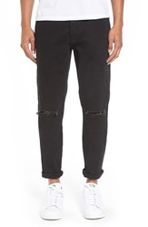 Topman Men's Ripped Stretch Slim Fit Jeans Black
