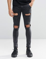 Sik Silk Siksilk Skinny Biker Jeans With Extreme Rips Black