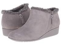 Cole Haan Callie Slip On Shearling Waterproof Ironstone Suede Shearling Women's Wedge Shoes Gray