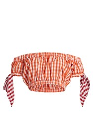House Of Holland Off The Shoudler Gingham Bandeau Top Orange White