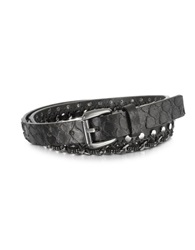 Forzieri Black Python Chain And Studded Skinny Belt