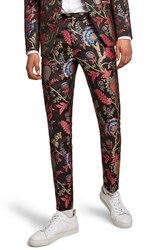 Topman Classic Fit Floral Print Suit Trousers Black Multi