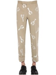 Thom Browne Lobster Embroidered Cotton Twill Pants Camel