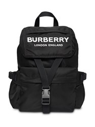 Burberry Logo Print Nylon Backpack Black