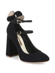 Sophia Webster Lilia Mid Mary Jane Suede Block Heel Pumps