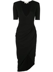 Fleur Du Mal Draped Midi Dress Black